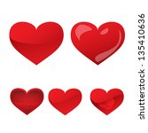 heart icons   set   isolated on ... | Shutterstock .eps vector #135410636