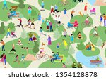 set of people having rest in... | Shutterstock .eps vector #1354128878