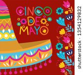 cinco de mayo card with flowers ... | Shutterstock .eps vector #1354129832