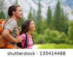 couple   active hikers hiking... | Shutterstock . vector #135414488