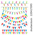 strings of holiday lights and...   Shutterstock .eps vector #135417095