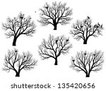 set of vector silhouettes of... | Shutterstock .eps vector #135420656