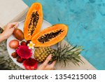 woman holding plate of tasty ... | Shutterstock . vector #1354215008