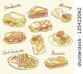 vector sandwich doodle with... | Shutterstock .eps vector #135423062