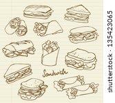 vector sandwich doodle | Shutterstock .eps vector #135423065