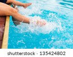 children legs in the water... | Shutterstock . vector #135424802
