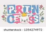 cute bear face with crown ...   Shutterstock .eps vector #1354274972