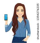young cheerful woman with long... | Shutterstock .eps vector #1354276235