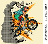 cyclist extreme sports wall...   Shutterstock .eps vector #1354304855