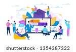 group of students sitting... | Shutterstock .eps vector #1354387322