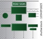 set of road green traffic signs.... | Shutterstock .eps vector #1354391825