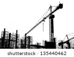 construction site silhouettes   Shutterstock . vector #135440462