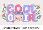 cute piggy face with bow ...   Shutterstock .eps vector #1354405322