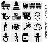 baby vector icons set. | Shutterstock .eps vector #135442115