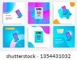 six set modern wave fluid... | Shutterstock .eps vector #1354431032