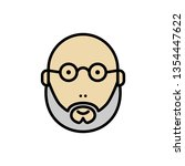 Stock vector bearded and bald man face icon bearded man with sunglasses 1354447622