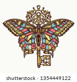 butterfly and key. mystical... | Shutterstock .eps vector #1354449122