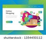 online shopping  mobile... | Shutterstock .eps vector #1354450112