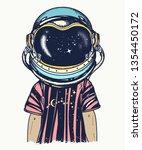 boy in astronaut helmet.... | Shutterstock .eps vector #1354450172