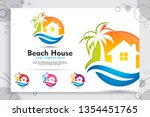 Beach House Vector Logo With...