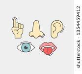 sense organs flat vector icons. ...   Shutterstock .eps vector #1354459412