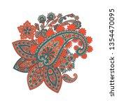 paisley floral pattern. damask... | Shutterstock . vector #1354470095