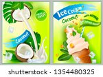 3d soft ice cream with coconut... | Shutterstock .eps vector #1354480325