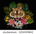 embroidery tiger head and lotus ... | Shutterstock .eps vector #1354539842