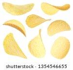 set of fried crispy potato...   Shutterstock . vector #1354546655