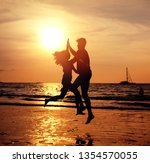 portrait of  young lovers on... | Shutterstock . vector #1354570055