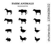 Stock photo farm animals in a overview black silhouette isolated on white background d illustration 1354608632