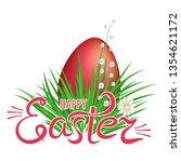 red easter eggs in green grass... | Shutterstock .eps vector #1354621172