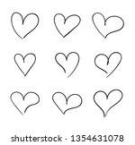 hand drawn hearts set  doodle... | Shutterstock . vector #1354631078