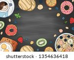 set of morning breakfast... | Shutterstock .eps vector #1354636418