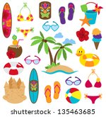 vector collection of beach and... | Shutterstock .eps vector #135463685