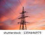 high voltage pole and wires... | Shutterstock . vector #1354646975