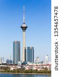 Small photo of Tianjin / China -03 24 2019 : Day time scene of TV Tower, Tianjin. The tallest modern landmark in Tianjin city, China taken with a wide angle lens