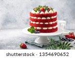 festive  red velvet cake on... | Shutterstock . vector #1354690652