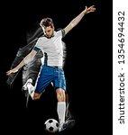 one caucasian soccer player man ... | Shutterstock . vector #1354694432