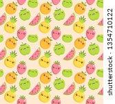 kawaii fruits pattern set with... | Shutterstock .eps vector #1354710122