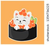 cute kitty cat in sushi  salmon ... | Shutterstock .eps vector #1354736225