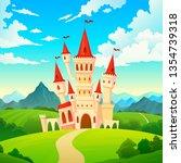 castle landscape. palace... | Shutterstock .eps vector #1354739318