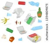 set of garbage on white... | Shutterstock .eps vector #1354809875