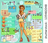 Stock vector fashion and beauty industry infographic with sample text cartoon sexy woman with beauty supplies 135482048