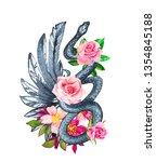 watercolor print t shirt wing...   Shutterstock . vector #1354845188