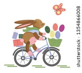 easter bunny hurry up by bicycle | Shutterstock .eps vector #1354866008