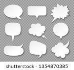 paper speech bubbles. white... | Shutterstock .eps vector #1354870385