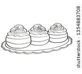 three muffins with cream | Shutterstock .eps vector #1354883708