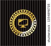 monitor icon inside golden badge | Shutterstock .eps vector #1354898735