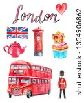watercolor poster with london... | Shutterstock . vector #1354906862
